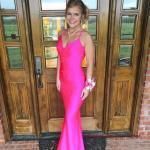 2020 Uzun Abiye Elbise Modelleri Fuşya Saten Uzun Askılı V Yakalı