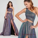 2020 Uzun Abiye Elbise Modelleri Gri Uzun Tek Askılı Göbek Dekolteli Yırtmaçlı