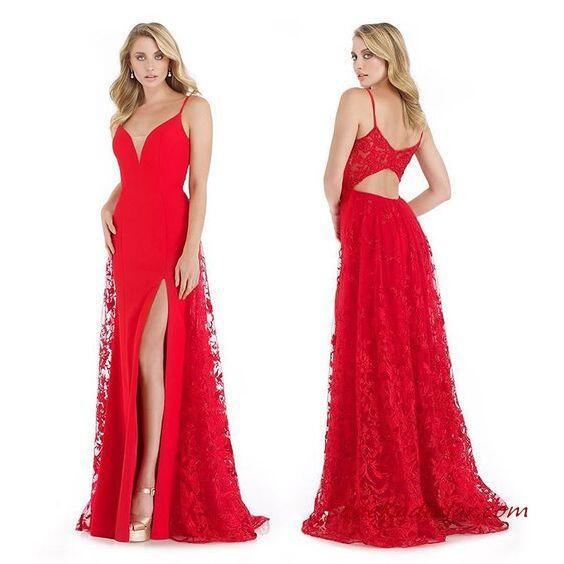 2020 Uzun Abiye Elbise Modelleri Kırmızı Uzun İp Askılı V Yakalı Yırtmaçlı Sırt Dekolteli