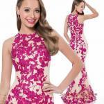 2020 Uzun Abiye Elbise Modelleri Krem Balık Kolsuz Kayık Yaka Fuşya Çiçek İşlemeli