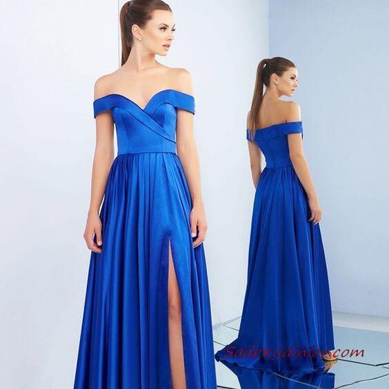 2020 Uzun Abiye Elbise Modelleri Saks Mavi Saten Uzun Straplez Kalp Yaka Yırtmaçlı