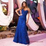 2020 Uzun Abiye Elbise Modelleri Saks Mavi Uzun Straplez Kalp Yaka İşlemeli