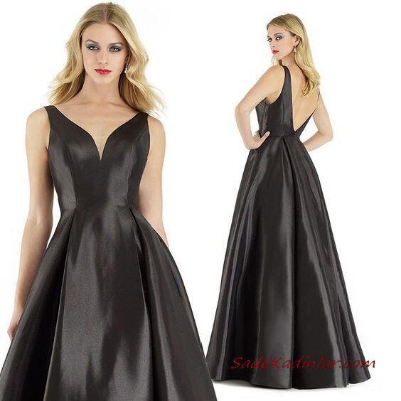 2020 Uzun Abiye Elbise Modelleri Siyah Saten Uzun Askılı Sırt Dekolteli Kabarık Etekli