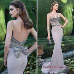 2020 Uzun Abiye Elbise Modelleri Vizon Uzun Balık İp Askılı Boncuk İşlemeli