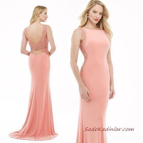 2020 Uzun Abiye Elbise Modelleri Yavruağzı Uzun Kayık Yaka Kolsuz Sırt Dekolteli