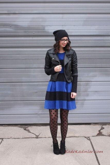 2020 Çorap Kombinleri Saks Mavi Mini Çizgili Elbise Siyah Deri Ceket Puantiyeli Çorap Topuklu Nubuk Kısa Bot
