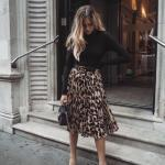 Bayanlar İçin 2020 Ofis Kombinleri Kahverengi Midi Leopar Desenli Etek Siyah Boğazlı Kazak Vizon Stiletto Ayakkabı