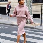 Bayanlar İçin 2020 Ofis Kombinleri Pembe Midi Boğazlı Triko Elbise Krem Desenli Topuklu Ayakkabı