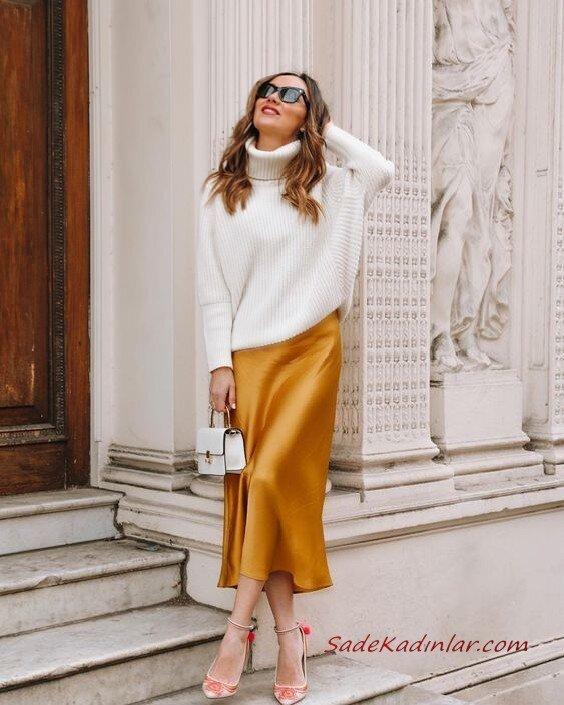 Bayanlar İçin 2020 Ofis Kombinleri Sarı Midi Saten Etek Beyaz Boğazlı Kazak Krem Topuklu Ayakkabı