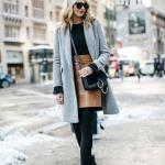 Bayanlar İçin 2020 Ofis Kombinleri Taba Midi Deri Etek Siyah Kazak Gri Uzun Kaşe Mont Siyah Topuklu Bot