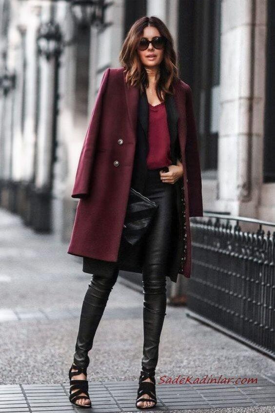 2020 - 2021 Kış Modasının En Şık Kombin Önerileri Siyah Deri Pantolon Bordo Bluz Uzun Kaşe Mont Siyah Stiletto Ayakkabı