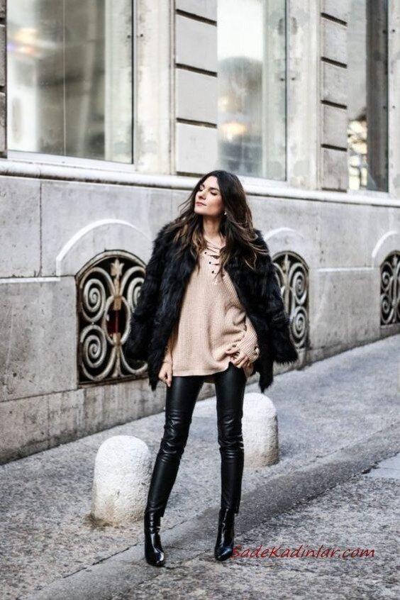 2020 - 2021 Kış Modasının En Şık Kombin Önerileri Siyah Deri Pantolon Vizon Kazak Siyah Kürklü Mont Kısa Rugan Bot