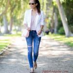 2020 Bayan Beyaz Blazer Ceket Kombinleri Mavi Kot Pantolon Krem Bluz Beyaz Blazer Ceket Leopar Desenli Babet Ayakkabı