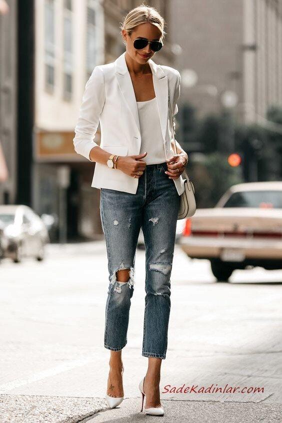 2020 Bayan Beyaz Blazer Ceket Kombinleri Mavi Yırtık Kot Pantolon Beyaz Askılı Bluz Blazer Ceket Stiletto Ayakkabı