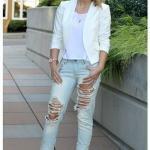 2020 Bayan Beyaz Blazer Ceket Kombinleri Mavi Yırtık Pantolon Beyaz Bluz Blazer Ceket Vizon Platform Topuklu Ayakkabı