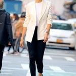 2020 Bayan Beyaz Blazer Ceket Kombinleri Siyah Pantolon Beyaz Bluz Blazer Ceket Siyah Stiletto Ayakkabı