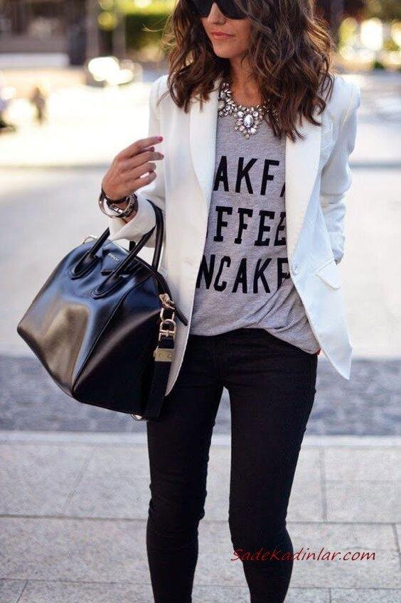 2020 Bayan Beyaz Blazer Ceket Kombinleri Siyah Pantolon Gri Bluz Beyaz Blazer Ceket
