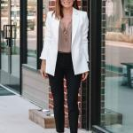 2020 Bayan Beyaz Blazer Ceket Kombinleri Siyah Pantolon Kahverengi Bluz Beyaz Blazer Ceket Siyah Stiletto Ayakakbı