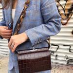 2020 Bayan Deri Çanta Modelleri Kahverengi Kare Zincir Askılı