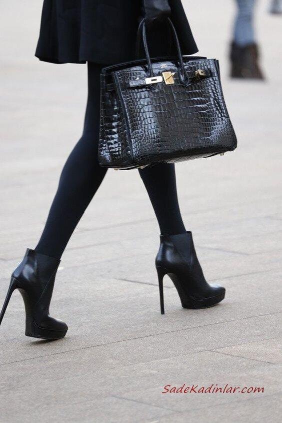 2020 Bayan Deri Çanta Modelleri Siyah Dikdörtgen Desenli El Çantası