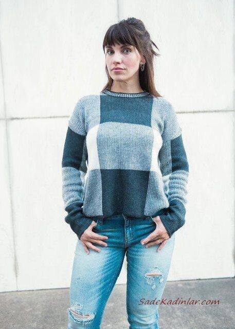 2020 Bayan Ekose Kazak Kombinleri Mavi Yırtık Kot Pantolon Gri Ekose Desenli Kazak