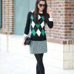 2020 Bayan Ekose Kazak Kombinleri Yeşil Mini Etek Siyah Ekose Desenli Kazak Topuklu Ayakkabı