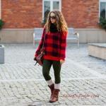 2020 Bayan Ekose Kazak Kombinleri Yeşil Pantolon Kırmızı Ekose Desenli Kazak Taba Kısa Bot