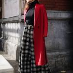2020 Bayan Ekose Pantolon Kombinleri Siyah Bol Kesim Pantolon Boğazlı Kazak Kırmızı Uzun Kaşe Mont Siyah Topuklu Bot