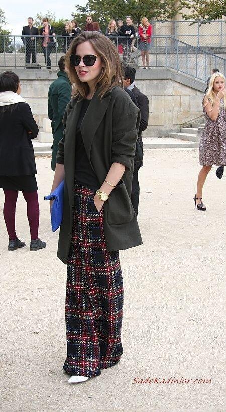 2020 Bayan Ekose Pantolon Kombinleri Siyah Cepli Bol Kesim Pantolon Kazak Uzun Ceket Beyaz Kısa Topuklu Bot