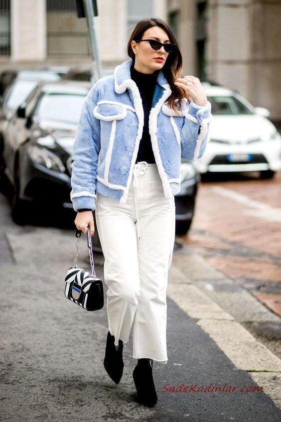 2020 Bayan Peluş Mont Kombinleri Beyaz Pantolon Siyah Balıkçı Yaka Kazak Mavi Kısa Peluş Mont Siyah Kısa Topuklu Bot