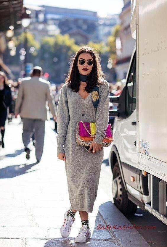 2020 Bayan Örgü Elbise Modelleri Gri Uzun V Yakalı Uzun Kollu Salaş