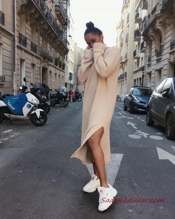 2020 Bayan Örgü Elbise Modelleri Krem Midi Boğazlı Yandan Yırtmaçlı Salaş