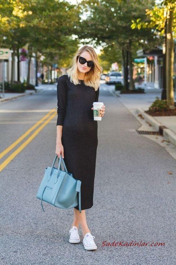 2020 Bayan Örgü Elbise Modelleri Siyah midi Yetim Kollu Kayık Yakalı Sade