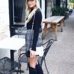 2020 Bayan Şapka Kombinleri Gri Mini Ekose Desenli Etek Siyah Kazak Şapka Uzun Nubuk Çizme