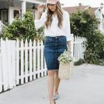 2020 Bayan Şapka Kombinleri Mavi Mini Kot Etek Beyaz Gömlek Pembe Şapka Gri Babet Ayakkabı