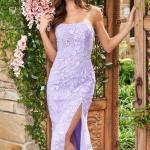 2020 Sherri Hill Abiye Modelleri Lila Uzun Straplez Düz Yakalı Derin Yırtmaçlı Nakışlı