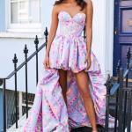 2020 Sherri Hill Abiye Modelleri Lila Önü Kısa Arkası Uzun Straplez Kalp Yaka Desenli