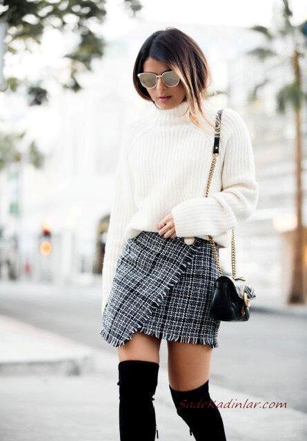 2020 Tüvit Etek Kombinleri Gri Mini Kruvaze Desenli Etek Beyaz Kazak Siyah Uzun Nubuk Topuklu Çizme