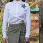 2020 Tüvit Etek Kombinleri Yeşil Mini Bağcıklı Etek Beyaz Uzun Kollu Gömlek