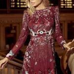 2020 Yılbaşı İçin Abiye Elbiseleri Bordo Mini Uzun Kollu Kayık Yaka İşlemeli