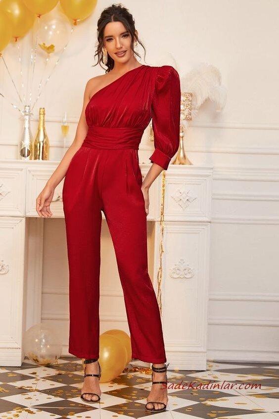 2020 Yılbaşı İçin Abiye Elbiseleri Kırmızı Tek Omuz Dekolteli Tek Kolu Uzun Cepli