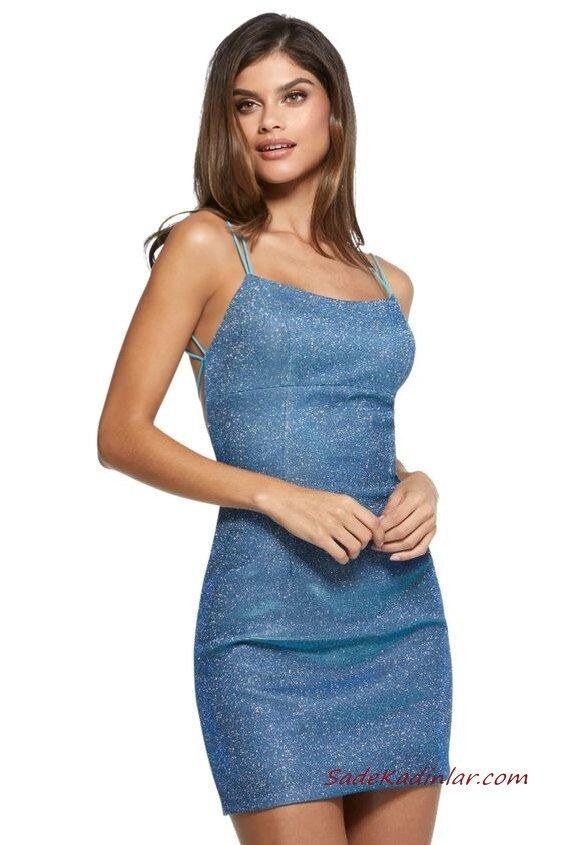 2020 Yılbaşı İçin Abiye Elbiseleri Mavi Mini İp Askılı Simli Sırt Dekolteli