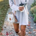 2020-2021 Kazak Elbise Kombinleri Gri Mini Boğazlı Elbise Kahverengi Nubuk Uzun Çizme Gri Omuz Çantası