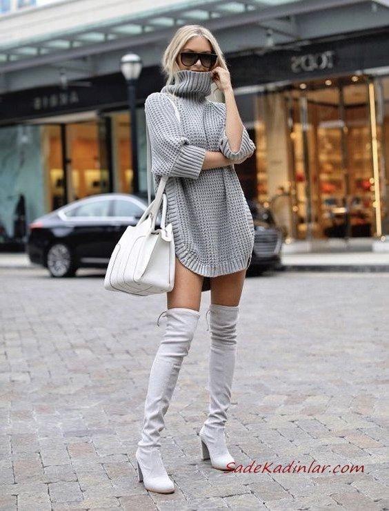 2020-2021 Kazak Elbise Kombinleri Gri Mini Boğazlı Elbise Uzun Nubuk Topuklu Çizme Beyaz Kol Çantası
