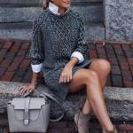 2020-2021 Kazak Elbise Kombinleri Gri Mini Desenli Elbise Vizon Nubuk Kısa Topuklu Bot Gri El Çantası