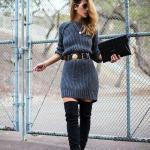 2020-2021 Kazak Elbise Kombinleri Gri Mini Kemerli Elbise Siyah Uzun Nubuk Topuklu Çizme El Çantası