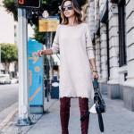 2020-2021 Kazak Elbise Kombinleri Krem Mini Yuvarlak Yaka Elbise Bordo Uzun Nubuk Topuklu Çizme Siyah El Çantası
