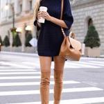2020-2021 Kazak Elbise Kombinleri Lacivert Mini Boğazlı Elbise Taba Uzun Nubuk Çizme Omuz Çantası
