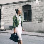 2020 Bayan Kalem Etek Kombinleri Beyaz Midi Kalem Etek Bluz Yeşil Bomber Ceket Beyaz Spor Ayakkabı Siyah El Çantası