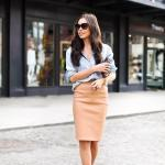 2020 Bayan Kalem Etek Kombinleri Kahverengi Deri Kalem Etek Mavi Kot Gömlek Kahverengi Stiletto Ayakkabı